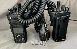 (2) Motorola MOTOTRBO XPR7580 900MHz Two Way Portable Radios with Accessories