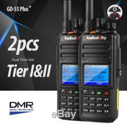 2x Radioddity GD-55 Plus DMR Ham IP67 10W UHF Digital Two way Radio + USB Cable