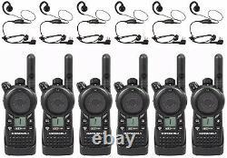 6 Motorola CLS1110 UHF Business Two-way Radios & HKLN4604 Headsets