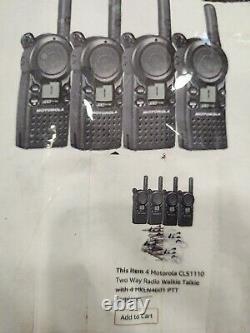 Lot of 4-Motorola CLS1110 Two-Way Radio Black
