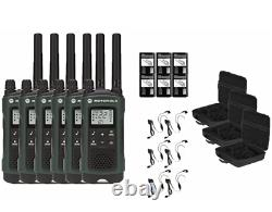 Motorola TALKABOUT T465 Two Way Radio Walkie Talkies with PTT Earpieces NEW 6-PACK