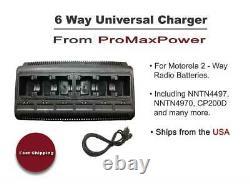 Chargeur De Batterie D'unité De Port Radio 6 Bidirectionnelle Pour Motorola Nntn4497 4970 4851 Cp200