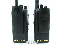 Lot De 2 Motorola Mototrbo 3500 Uhf Portable Two Way Radios Aah02rdh9ja2an