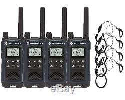 Motorola T460 Bidirectionnelle Radio / Talkie-walkie 4 Pack Avec Curl Earpieces