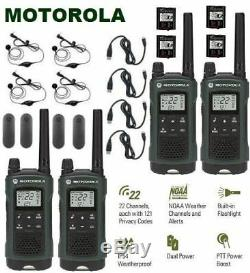 Motorola Talkabout T465 Talkie Walkie 4 Pack 35 Mile Two Way Radio (cas + Oreillettes)