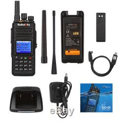 Radioddity Gd-55 Plus 10w Dmr Numérique Ham Deux Voies Câble Radio Uhf Talkie Walkie +
